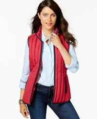 Tommy Hilfiger Contrast Trim Puffer Vest Hot Raspberry