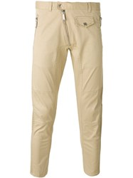 Dsquared2 Chino Trousers Men Cotton Spandex Elastane 54 Nude Neutrals