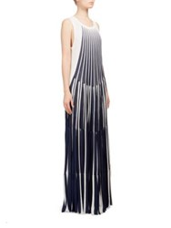 Chloe Pleated Knit Gown White Blue