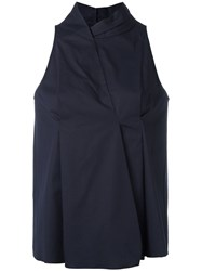 Jil Sander Navy Sleeveless Blouse Blue