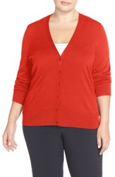 Plus Size Women's Sejour V Neck Cardigan Red Aurora