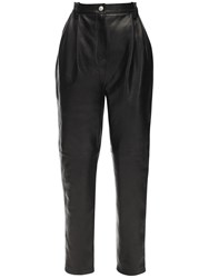 Magda Butrym High Waist Nappa Leather Jeans Black