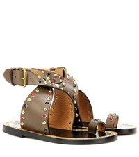 Isabel Marant Jools Embellished Leather Sandals Brown