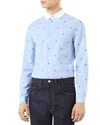 Gucci Bee Fil Coupe Cambridge Shirt Sky