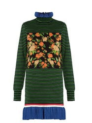 Msgm Striped And Floral Print Cotton Blend Dress Green Multi