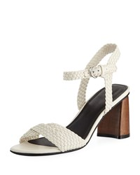 Sigerson Morrison Darby Braided Leather Sandals White