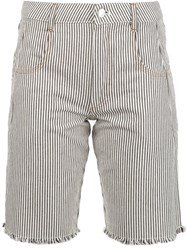 Alexander Wang T By Striped Denim Shorts White