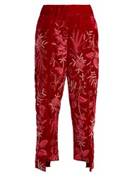 By Walid Meera Floral Embroidered Silk Velvet Trousers