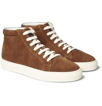 Brunello Cucinelli Leather Trimmed Suede High Top Sneakers Tan