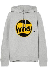 Ganni Printed Cotton Jersey Hooded Top Gray