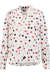 See By Chloe Pussy Bow Heart Print Jacquard Blouse White