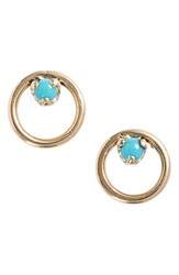 Zoe Chicco Women's Turquoise Circle Stud Earrings