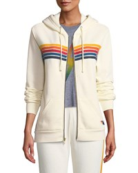 Aviator Nation 5 Stripe Zip Front Hoodie White