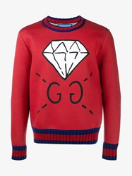 Gucci Ghost Diamond Print Sweatshirt Red Multi Coloured Blue White Black