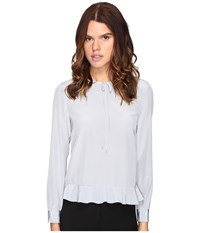 Red Valentino Silk Crepe De Chine Blouse Alluminio Women's Blouse Silver