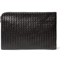 Bottega Veneta Intrecciato Leather Document Case Black