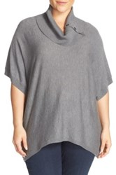 Sejour Button Cowl Neck Short Sleeve Sweater Plus Size Gray