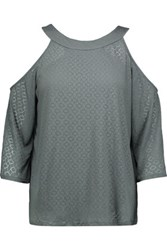 Bailey 44 Cold Shoulder Burnout Stretch Jersey Top Gray Green