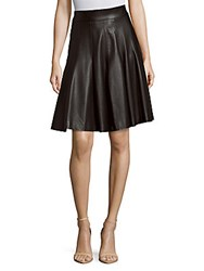 J. Mendel Flared Leather Skirt Noir