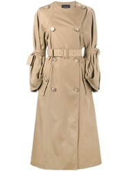 Simone Rocha Double Breasted Trench Coat Nude And Neutrals