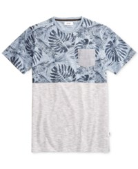 Univibe Men's Maklebro Colorblocked Floral Print Cotton Pocket T Shirt Blue