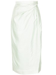 Carolina Herrera Striped Pencil Skirt Green