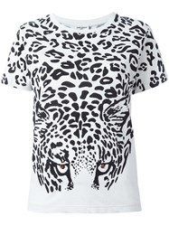 Saint Laurent Leopard Print T Shirt White