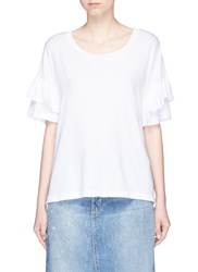 Current Elliott 'The Ruffle Roadie' Tiered Sleeve T Shirt White
