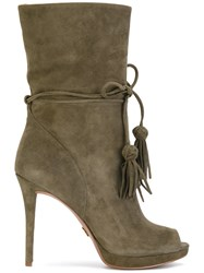 Michael Michael Kors Open Toe Boots Women Leather Suede Polyester Rubber 7 Green