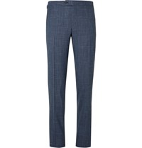 Thom Sweeney Blue Slim Fit Checked Wool Silk And Linen Blend Suit Trousers Blue