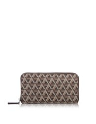Lancaster Paris Ikon Coated Canvas And Leather Zip Around Continental Wallet Brown