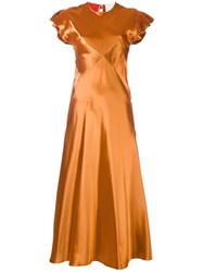 Roksanda Ilincic Side Panel Dress Women Silk Viscose 8 Yellow Orange