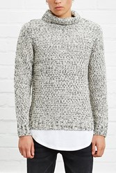 Forever 21 Marled Knit Turtleneck Cream Black