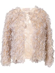 Christopher Kane Ruffled Jacket Nude And Neutrals