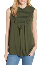 Everleigh Lace Inset Tank Top Cargo Green