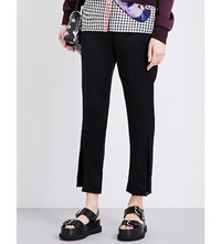 Christopher Kane Cropped Mid Rise Woven Trousers Black