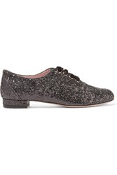 Red Valentino Redvalentino Glittered Leather Brogues Black