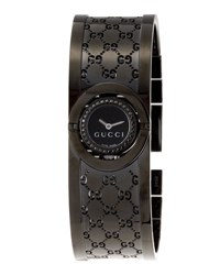 Gucci Stainless Steel Twirl Flip Bangle Watch Black