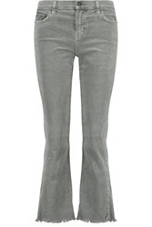 Current Elliott The Kick Cropped Mid Rise Corduroy Flared Jeans Gray