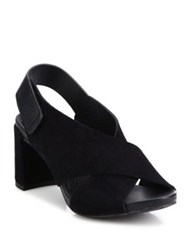 Pedro Garcia Wara Crisscross Leather Block Heel Slingbacks Black