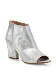 Maison Martin Margiela Metallic Leather Open Toe Booties Silver