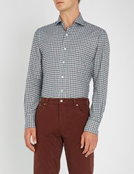 Emmett London Checked Slim Fit Brushed Cotton Shirt Brown