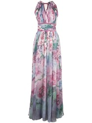 Marchesa Notte Floral Printed Chiffon Gown Purple