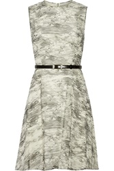 Jason Wu Belted Printed Silk Chiffon Dress Gray