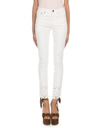 Saint Laurent Straight Fit Eyelet Embroidered Hem Jeans White