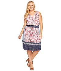 Lucky Brand Plus Size Kerry Knit Dress Pink Multi Women's Dress