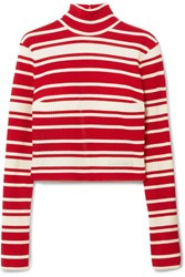 Prada Striped Ribbed Knit Turtleneck Sweater Red