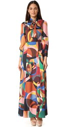 Alice Olivia Bethany Bow Tie Maxi Dress Kaleidoscope Bubbles Large