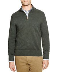 Brooks Brothers Cotton Cashmere Pique Quarter Zip Pullover Fir Green