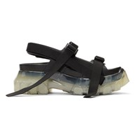 Rick Owens Black And Transparent Tractor Sandals